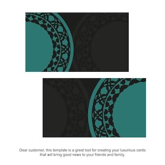 Conception de carte de visite vectorielle en couleur noire avec des motifs bleus. cartes de visite élégantes avec place pour votre texte et ornement abstrait.