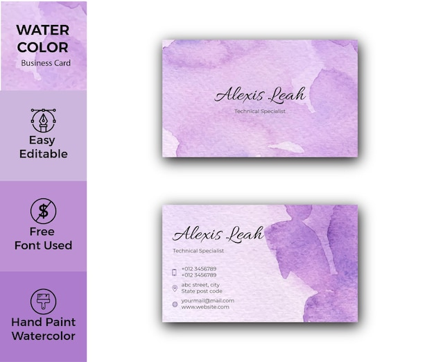 Conception de carte de visite violette