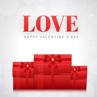 Conception de carte de voeux amour avec illustration de coffrets cadeaux sur whi