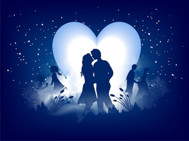 Conception de carte de voeux d'amour, silhouette romantique d'aimer le couple