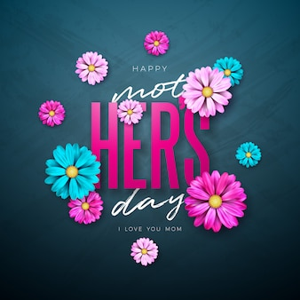 Conception de carte de voeux bonne fête des mères avec fleur et lettre de typographie
