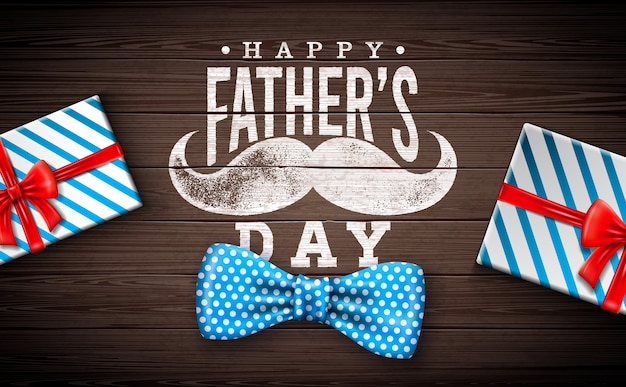 Conception de carte de voeux de bonne fête des pères avec noeud papillon en pointillé, moustache et boîte-cadeau sur fond de bois vintage. illustration de célébration pour papa.