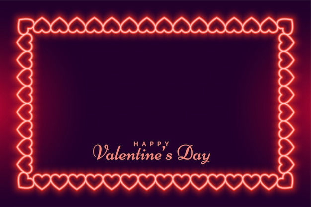 Conception de carte de voeux coeurs cadre néon saint valentin