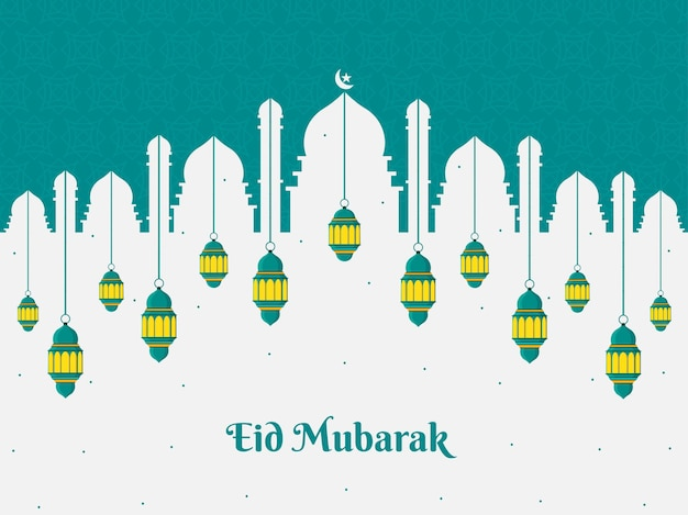 Conception de carte de voeux eid mubarak avec un beau motif sur fond vecteur premium