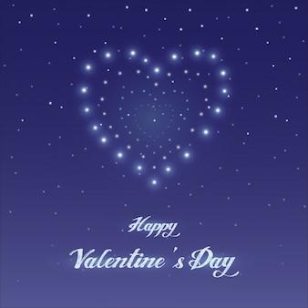 Conception de carte de voeux happy valentine's day, ciel de nuit avec illustration vectorielle de coeur étoile