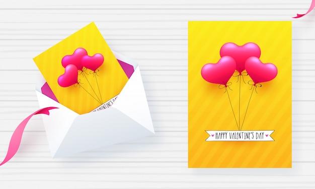 Conception de carte de voeux jaune avec illustration de ballons roses