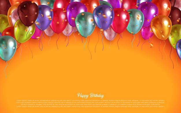 Conception de carte de voeux joyeux anniversaire texte vecteur avec des ballons colorés et des confettis