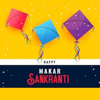 Conception de carte de voeux joyeux festival indien makar sankranti