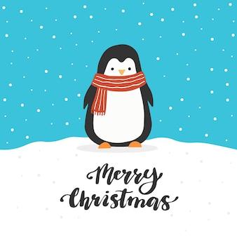 Conception de carte de voeux de noël avec personnage de pingouin de dessin animé, éléments de conception dessinés à la main, lettrage qoute joyeux noël.