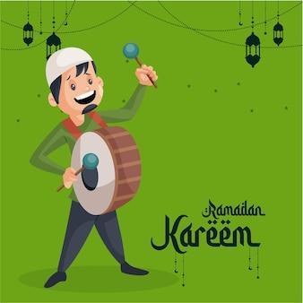 Conception de carte de voeux ramadan kareem avec homme musulman jouant au dhol