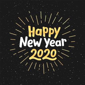 Conception de carte de voeux de vecteur de bonne année 2020