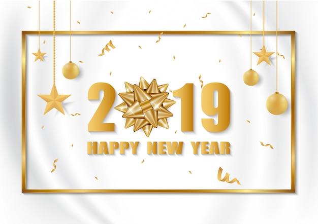 Conception de cartes 2019 happy new year.