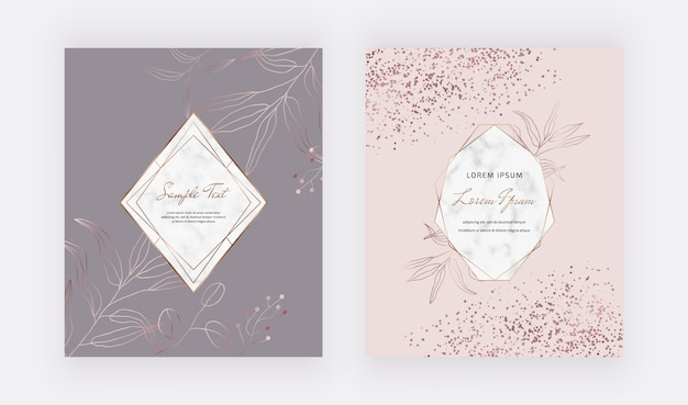 Conception de cartes de couvertures roses et grises avec des confettis en or rose, des cadres géométriques en marbre et des feuilles de ligne en or.