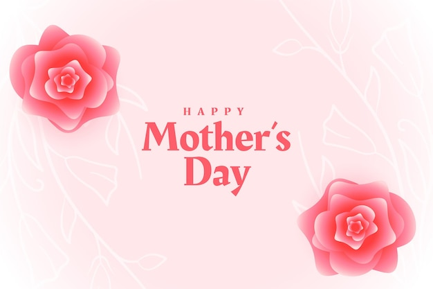 Conception de cartes décoratives de fleurs de fête des mères heureux