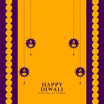Conception de cartes décoratives de style plat joyeux diwali
