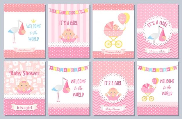 Conception de cartes de douche de bébé. illustration. fond de fête d'anniversaire.
