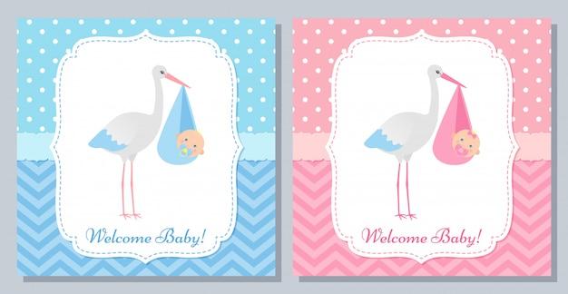 Conception de cartes de douche de bébé.