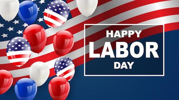Conception de cartes de fête du travail fond de ballons drapeau américain