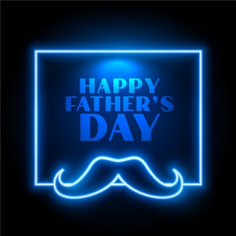 Conception de cartes de fête de fête des pères heureux style néon bleu