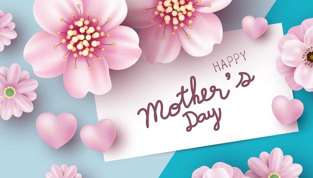 Conception de cartes de fête des mères de fleurs roses sur fond de papier de couleur