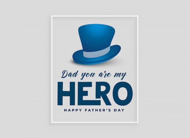 Conception de cartes de fête des pères heureux avec un chapeau