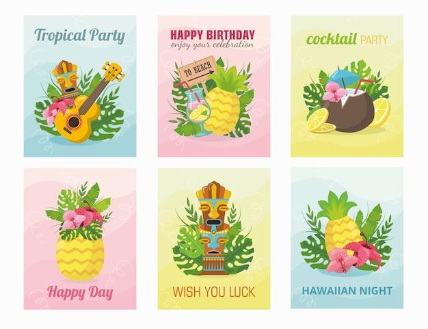 Conception de cartes hawaïennes modernes avec illustration. concept de vacances d'été