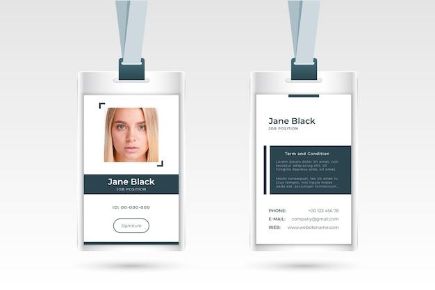 Conception de cartes d'identité minimaliste avec photo