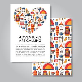 Conception de cartes d'invitation de deux côtés avec équipement de randonnée et de camping