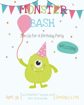 Conception de cartes d'invitation fête joyeux anniversaire monstre mignon. vecteur