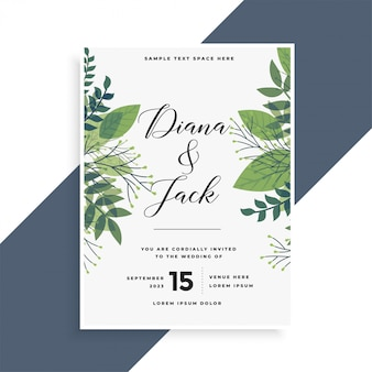 Conception de cartes d'invitation de mariage de belles feuilles vertes