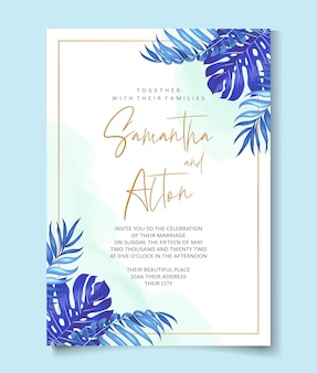 Conception de cartes d'invitation de mariage de feuilles tropicales