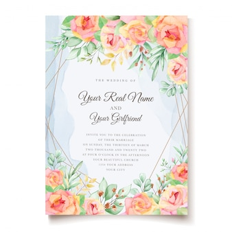 Conception de cartes d'invitation de mariage floral aquarelle