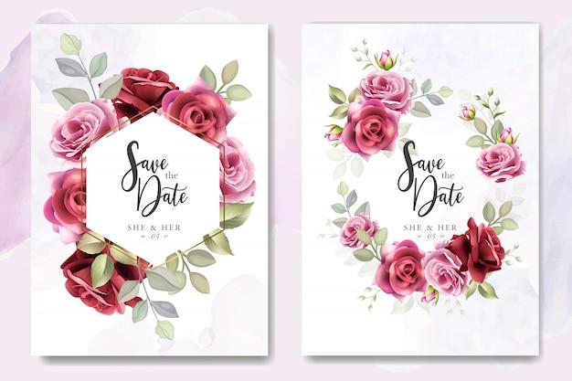 Conception de cartes d'invitation de mariage avec des roses élégantes