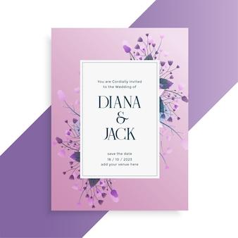 Conception de cartes d'invitation de mariage de style fleur décorative