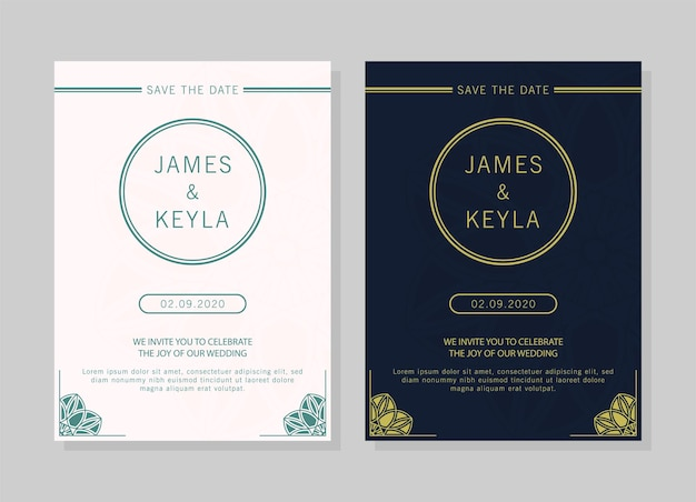 Conception de cartes d & # 39; invitation de mariage style vintage