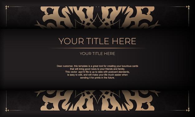 Conception de cartes d'invitation avec des motifs vintage. modèle de bannière présentable noir avec ornements luxueux et place pour votre conception.