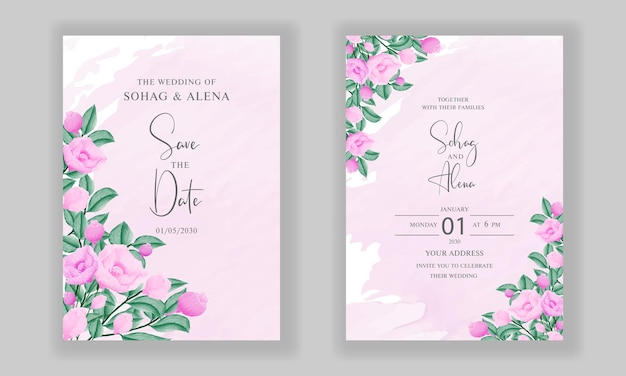 Conception de cartes d'invitations de mariage de fiançailles avec floral rose tendre aquarelle
