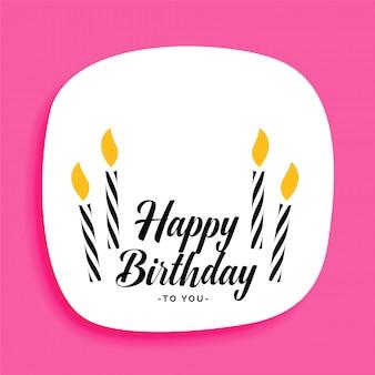 Conception de cartes de joyeux anniversaire avec des bougies et de l'espace de texte