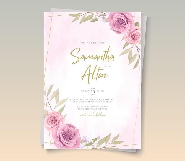 Conception de cartes de mariage avec de beaux ornements floraux en fleurs