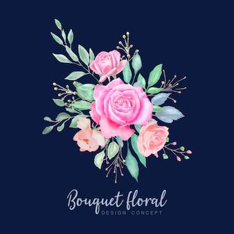 Conception de cartes de mariage couronne florale aquarelle