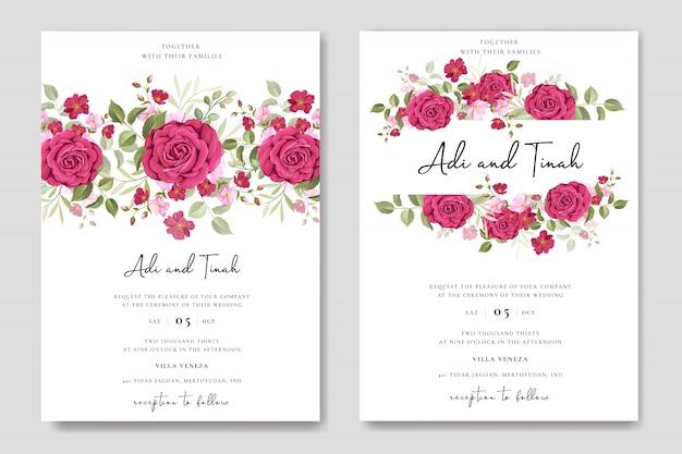 Conception de cartes de mariage élégant avec modèle de couronne de belles roses