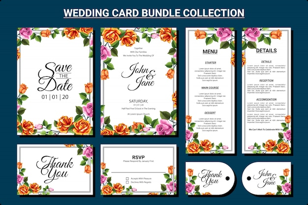 Conception de cartes de mariage avec ensemble de collection bundle d'ornement floral