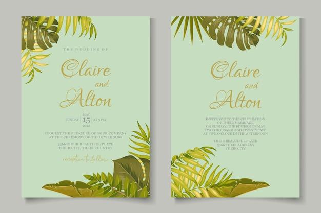 Conception de cartes de mariage de feuilles tropicales