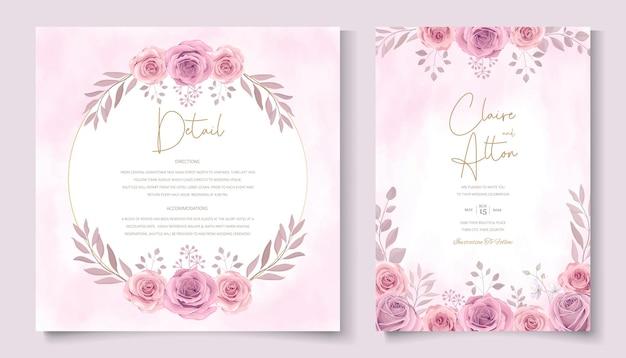 Conception de cartes de mariage fleur rose fleurie dessinés à la main