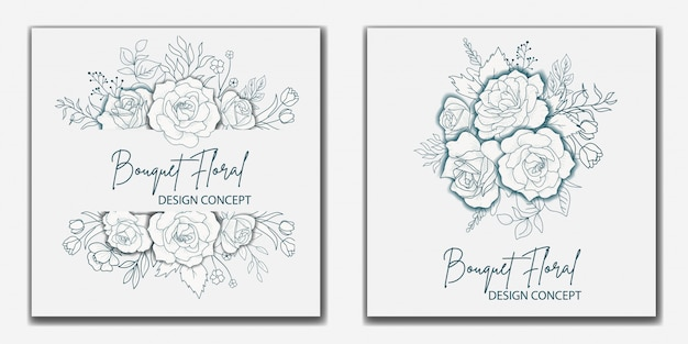 Conception de cartes de mariage floral bouquet dessiné à la main
