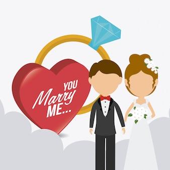 Conception de cartes de mariage.