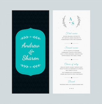 Conception de cartes de menu de mariage