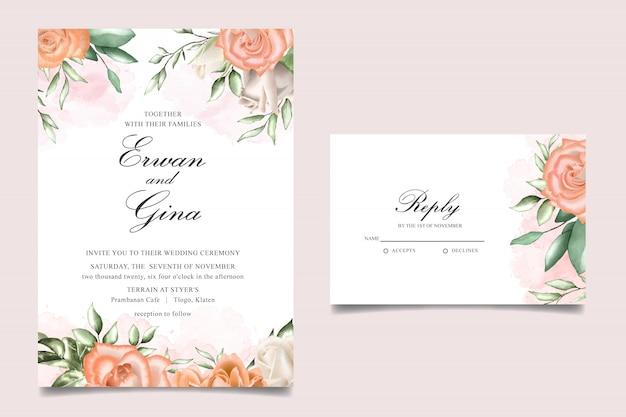 Conception de cartes modèle invitation de mariage avec aquarelle floral et feuilles