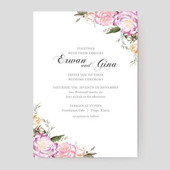 Conception de cartes de modèle invitation mariage floral
