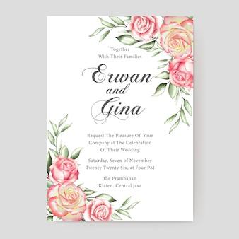 Conception de cartes modèle mariage floral invitation
